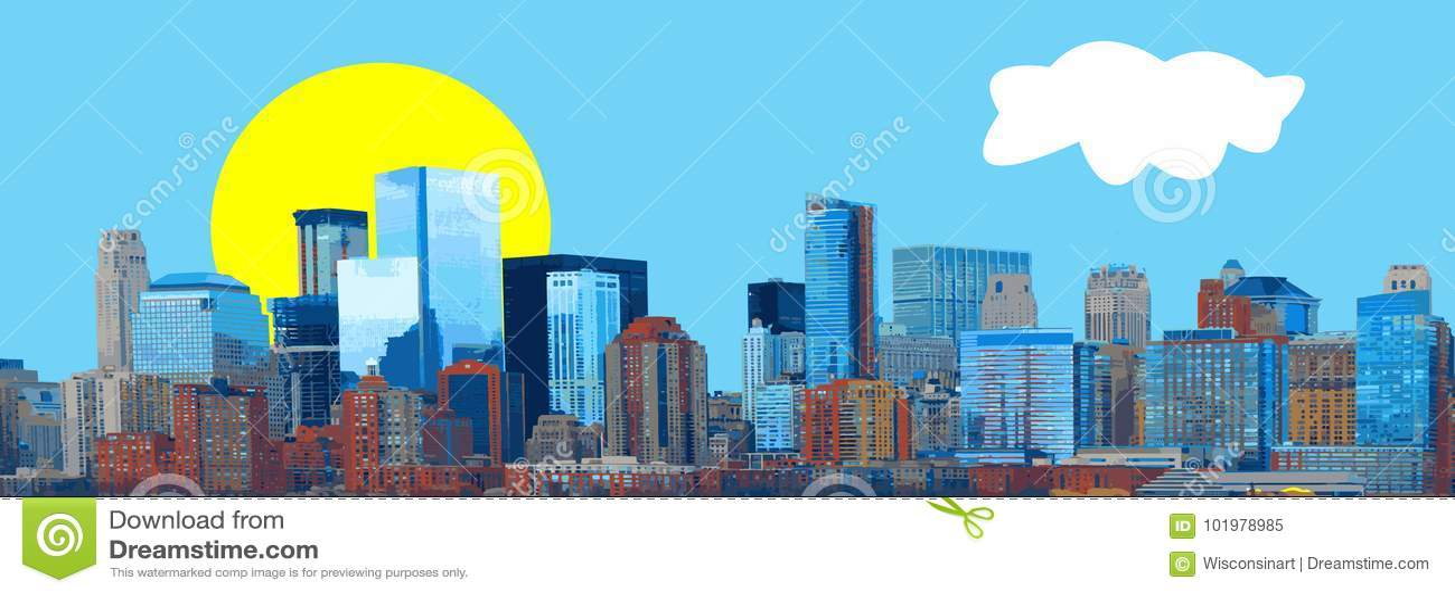 Διάνυσμα πανοράματος εμβλημάτων οριζόντων πόλεων