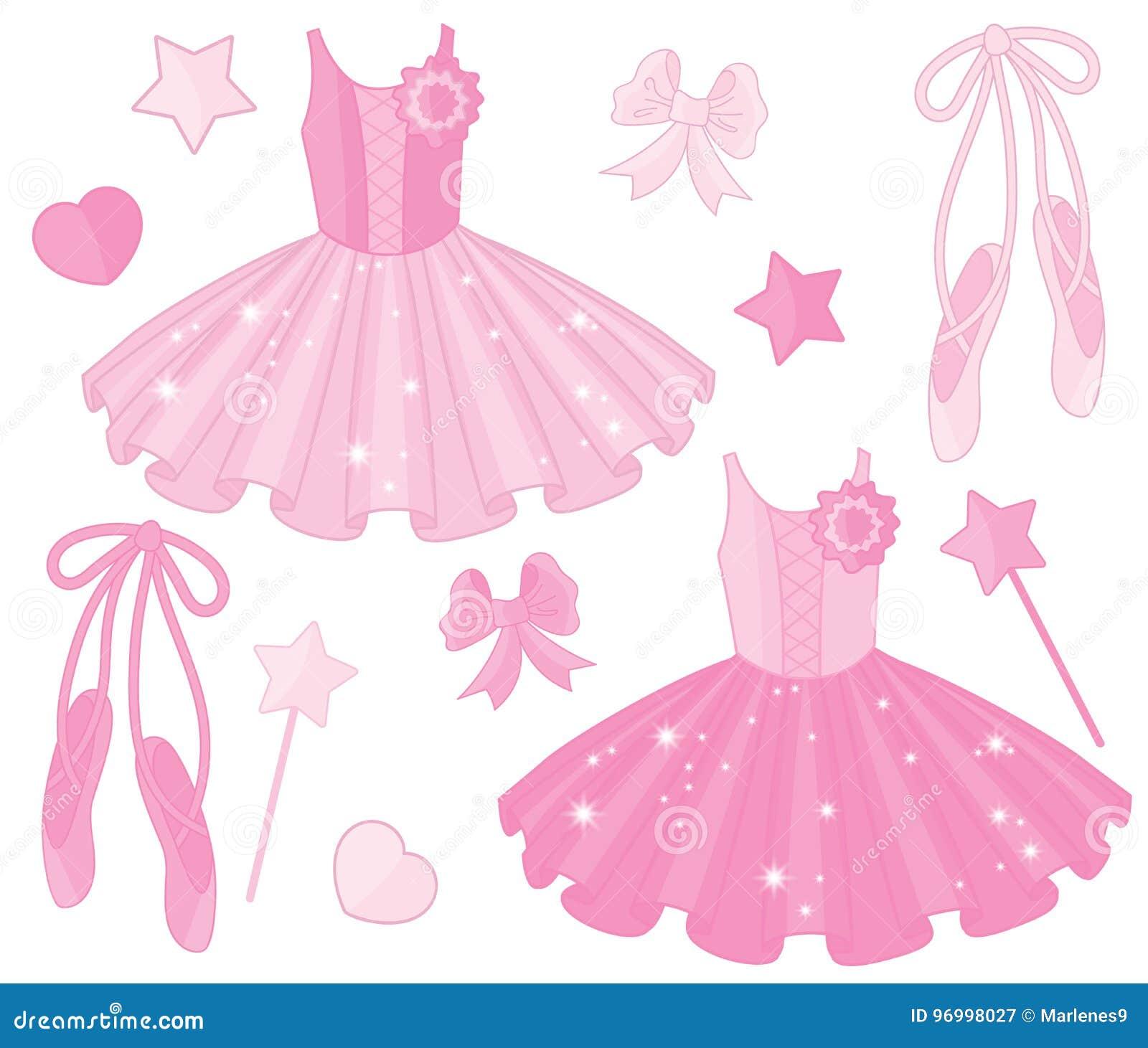 0293e26017f Διάνυσμα που τίθεται με τα παπούτσια μπαλέτου και τα φορέματα Tutu ...