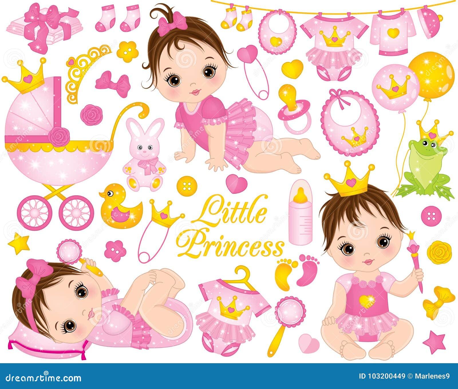 1e0f3dd8a42 Διάνυσμα που τίθεται με τα χαριτωμένα κοριτσάκια που ντύνονται ως  πριγκήπισσες και διάφορα εξαρτήματα