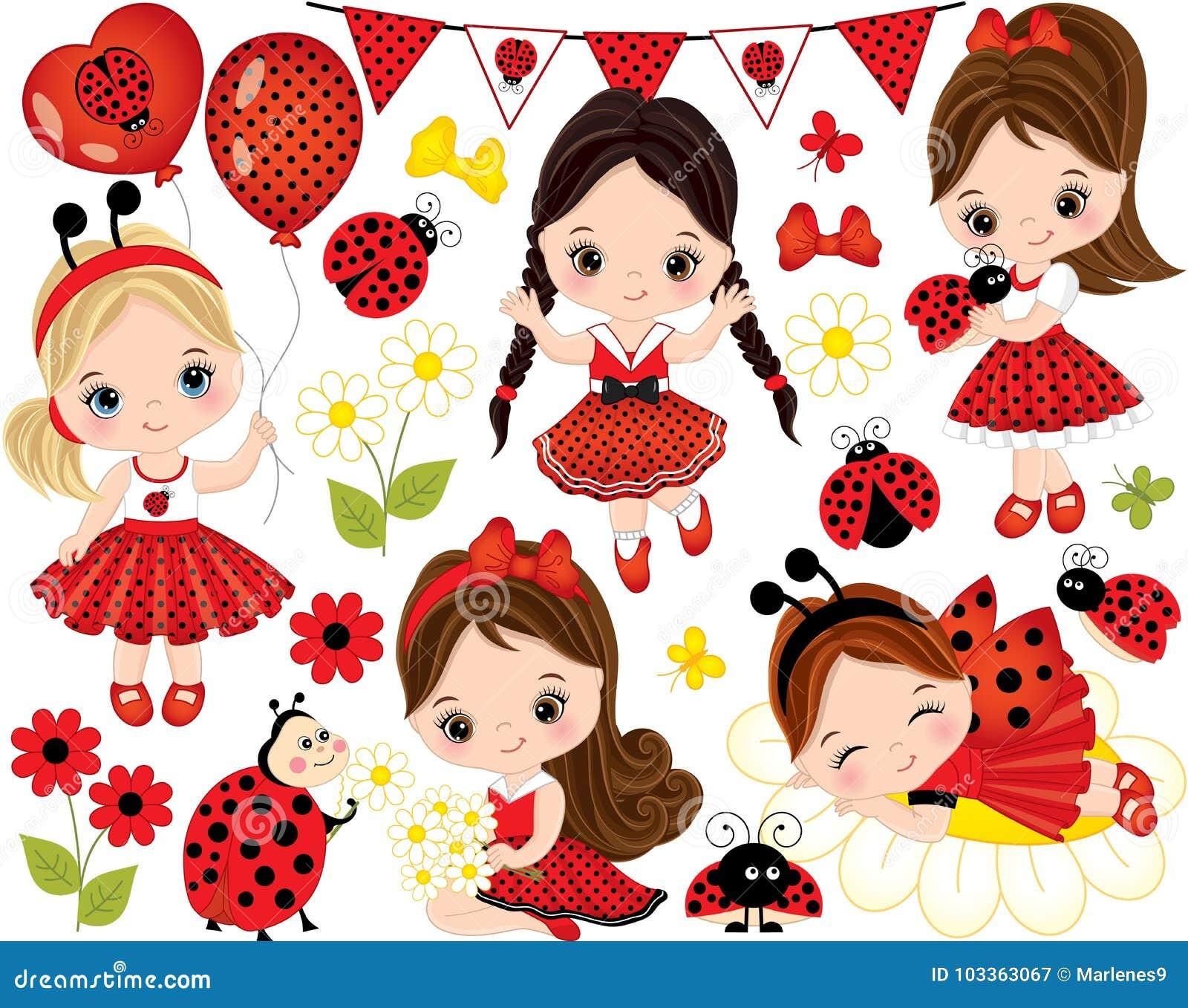 bd04b2c904e Διάνυσμα που τίθεται με τα χαριτωμένα μικρά κορίτσια, Ladybugs και τα  λουλούδια