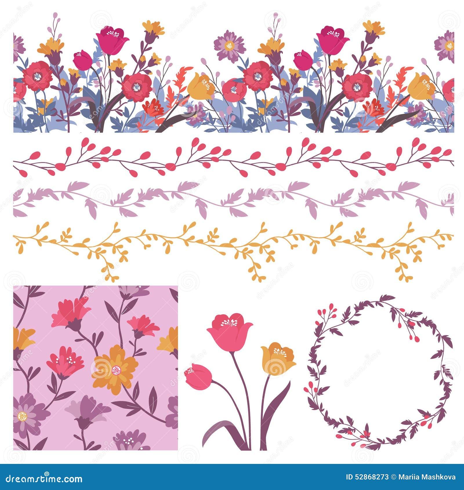 Διάνυσμα που τίθεται με τα floral στοιχεία