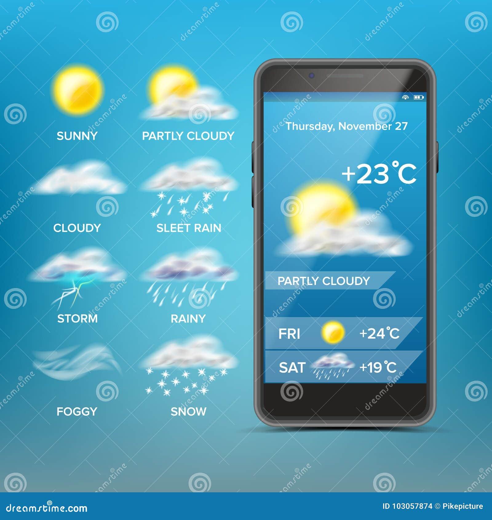 Διάνυσμα πρόγνωσης καιρού App Αγαθό για τη χρήση στο κινητό τηλέφωνο App Προβλέψτε το κράτος της ατμόσφαιρας για μια δεδομένη θέσ
