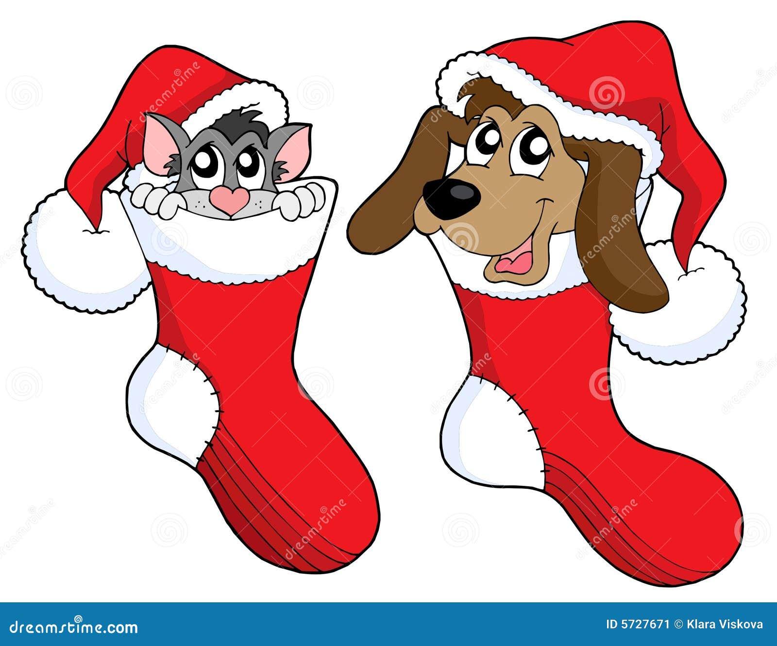διάνυσμα σκυλιών Χριστουγέννων γατών