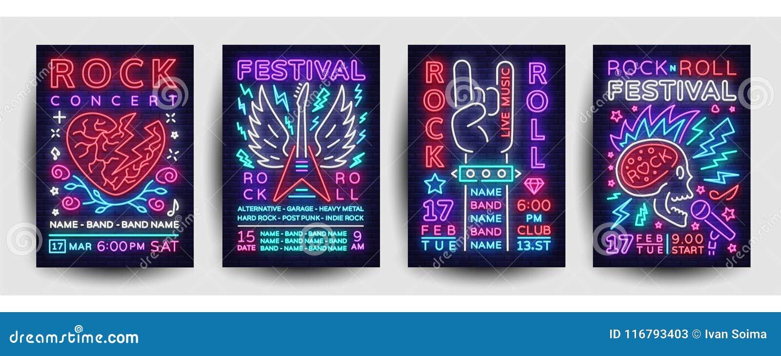 Διάνυσμα συλλογής αφισών συναυλίας μουσικής ροκ Ιπτάμενα φεστιβάλ μουσικής ροκ προτύπων σχεδίου καθορισμένα, ύφος νέου, έμβλημα ν