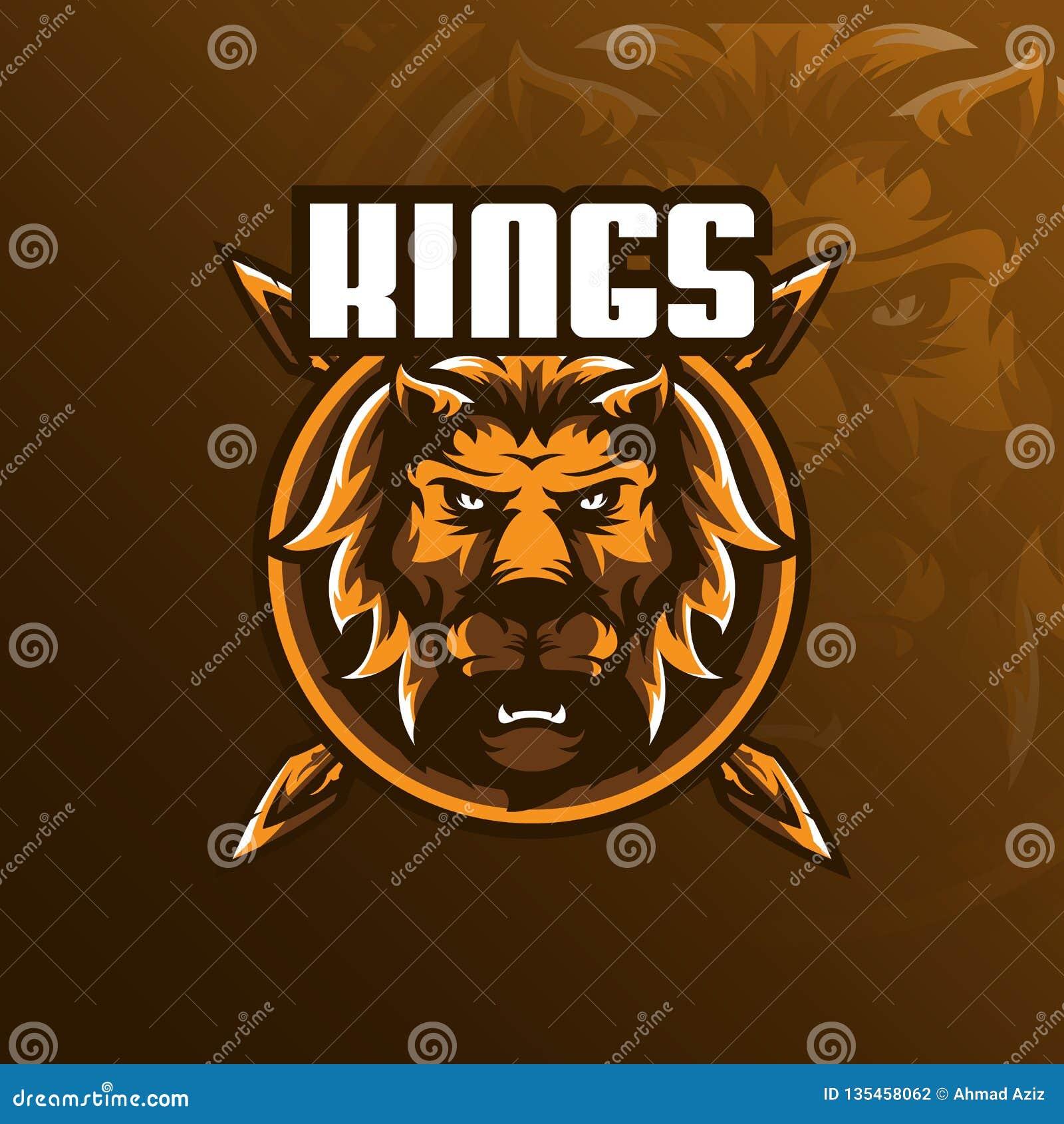 Διάνυσμα σχεδίου λογότυπων μασκότ λιονταριών με το σύγχρονο ύφος έννοιας απεικόνισης για την εκτύπωση διακριτικών, εμβλημάτων και