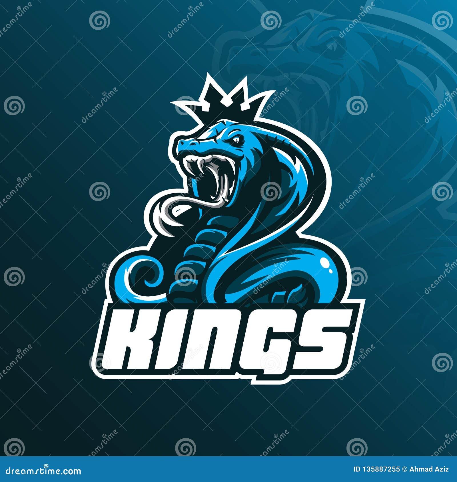 Διάνυσμα σχεδίου λογότυπων μασκότ cobra βασιλιάδων με το σύγχρονο ύφος έννοιας απεικόνισης για την εκτύπωση διακριτικών, εμβλημάτ