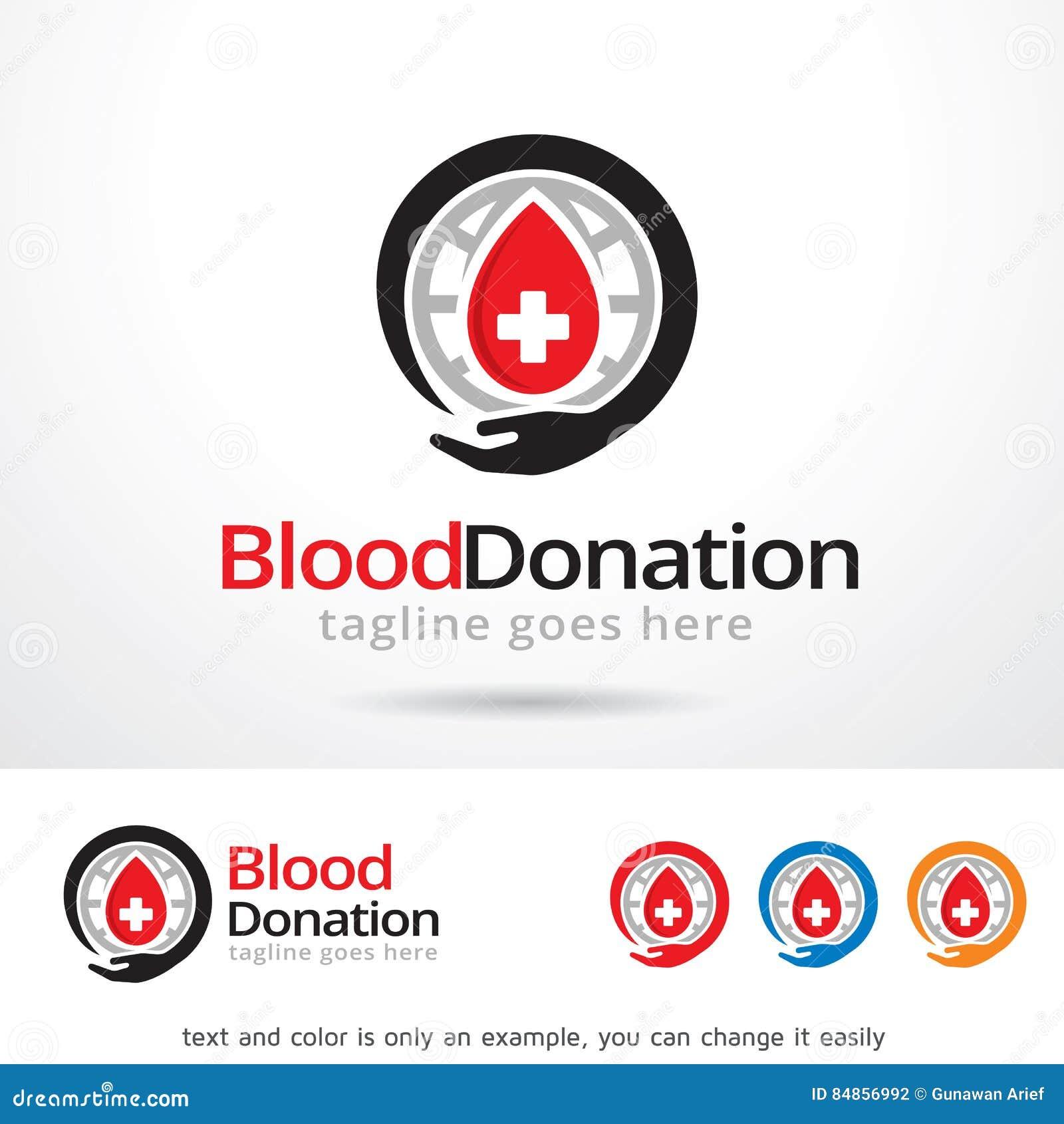 Διάνυσμα σχεδίου προτύπων λογότυπων δωρεάς αίματος