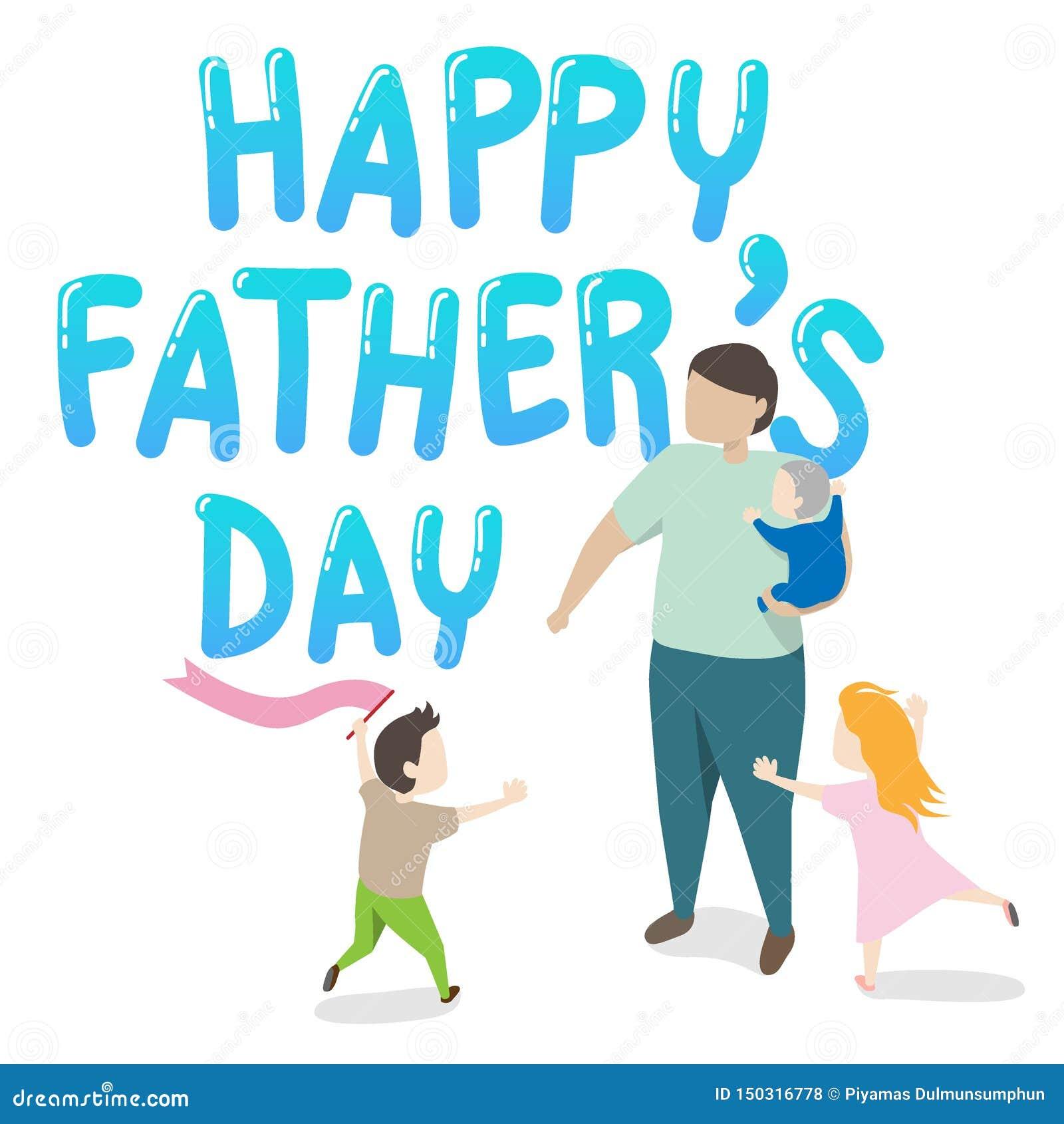 Διάνυσμα της ευχετήριας κάρτας ημέρας του ευτυχούς πατέρα πατέρας που κρατά ένα παιδί στο βραχίονά του με δύο παιδιά που παίζουν