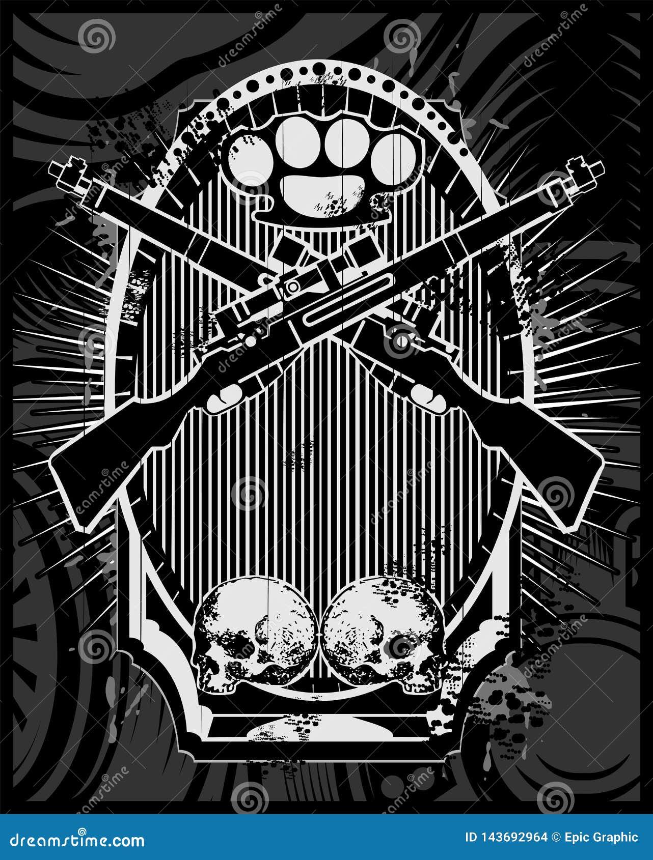 Διάνυσμα όπλων, πυροβόλων όπλων, αρθρώσεων και κρανίων
