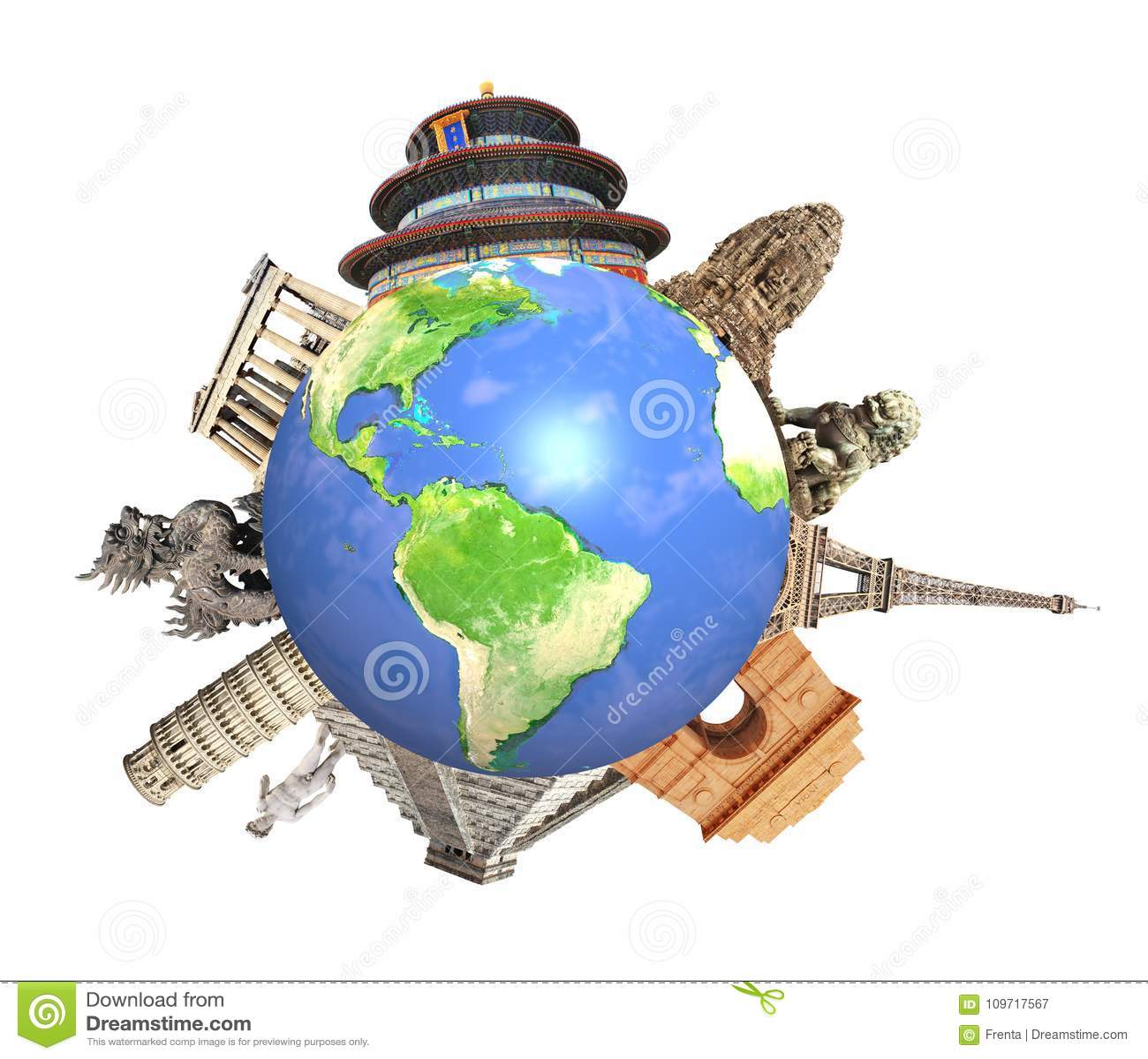 Διάσημα μνημεία παγκόσμιο να περιβάλει του πλανήτη Γη