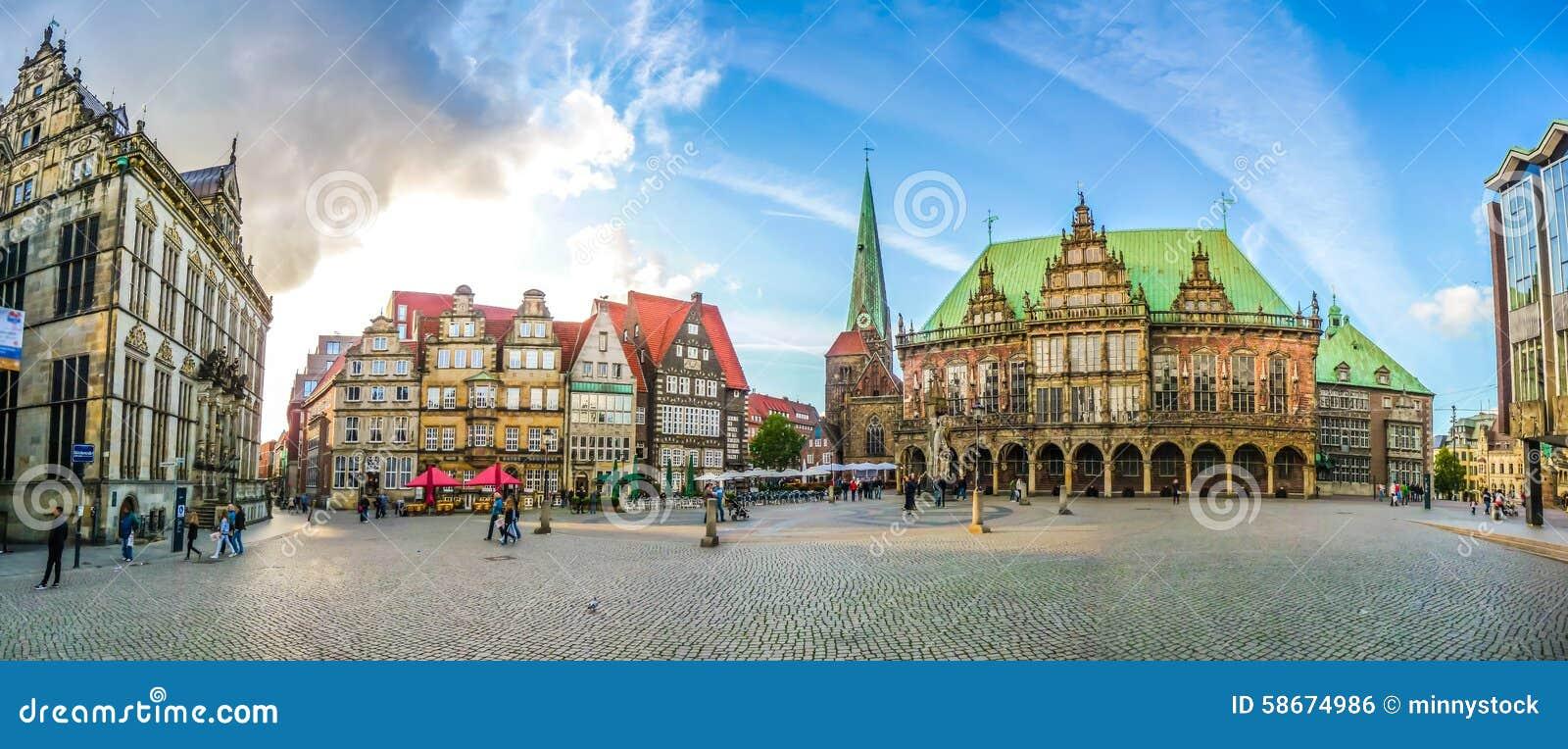 Διάσημο τετράγωνο αγοράς της Βρέμης στη χανσεατική πόλη Βρέμη, Γερμανία