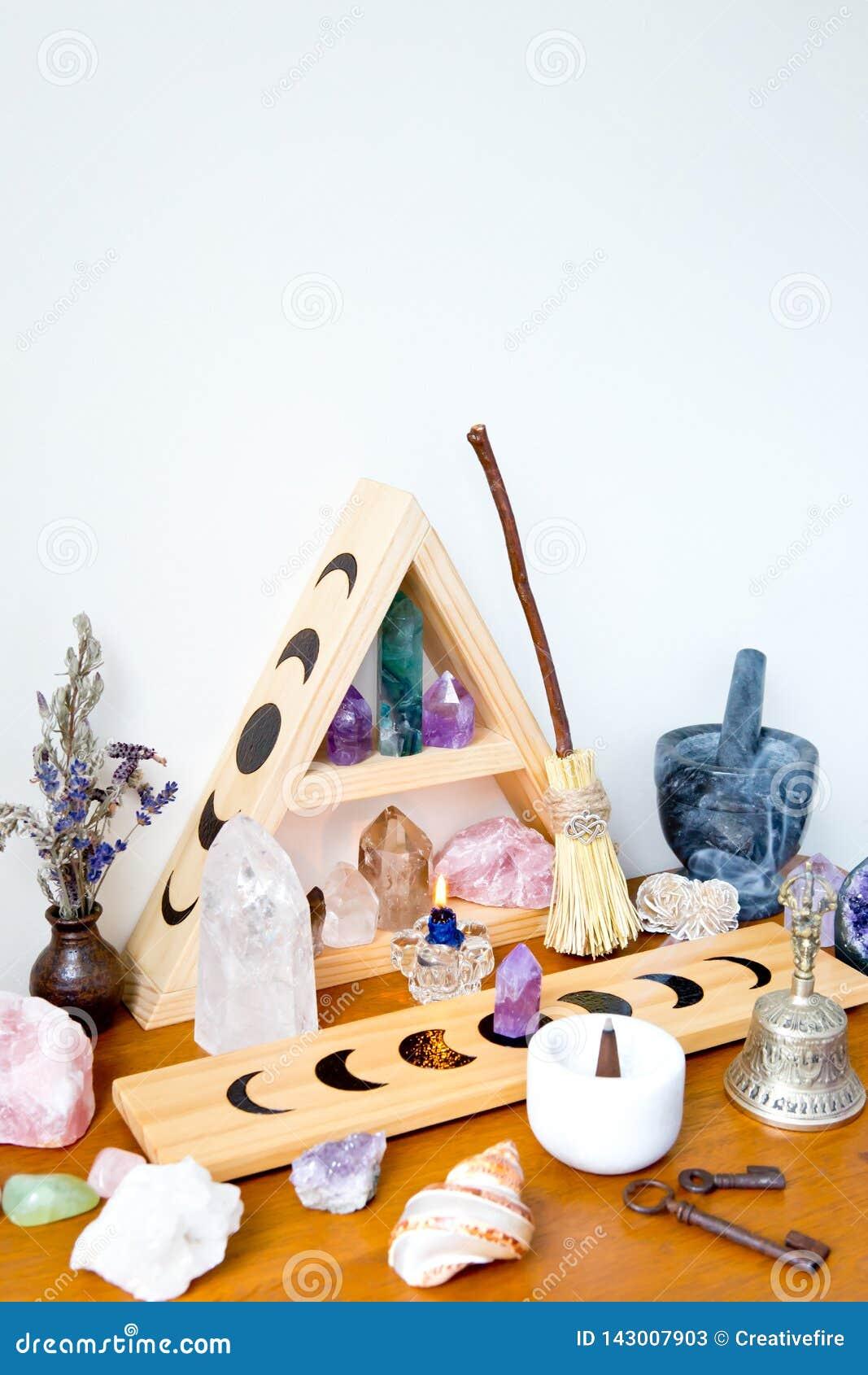 Διάστημα βωμών - μάγισσα, Wicca, νέα ηλικία, ειδωλολατρική με το σχέδιο φάσης φεγγαριών