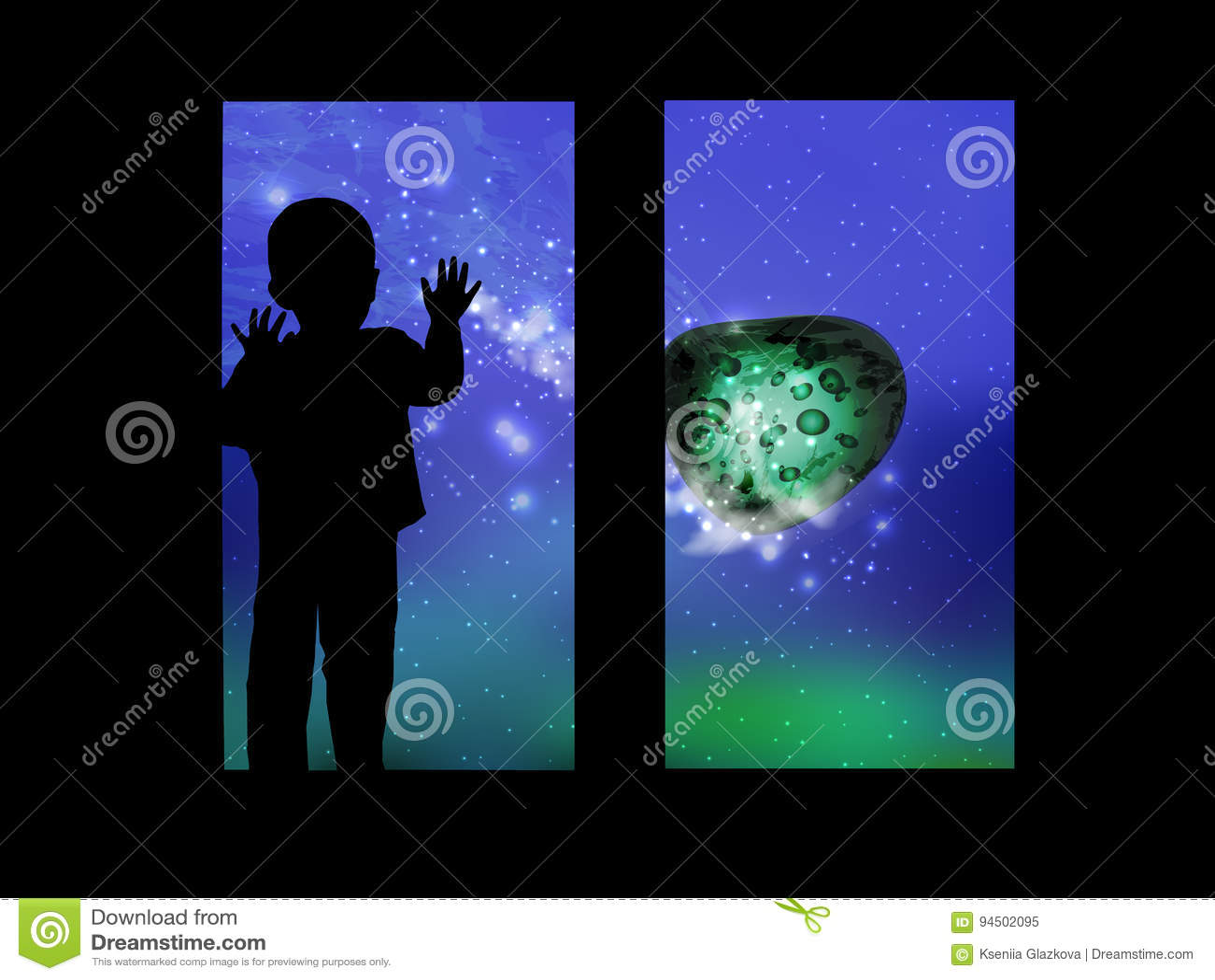 Διάστημα και το παιδί που φαίνεται έξω το παράθυρο