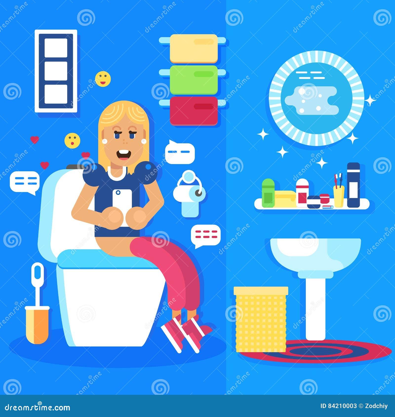 Διάταξη θέσεων νέων κοριτσιών στην τουαλέτα με το έξυπνες τηλέφωνο και τις συνομιλίες