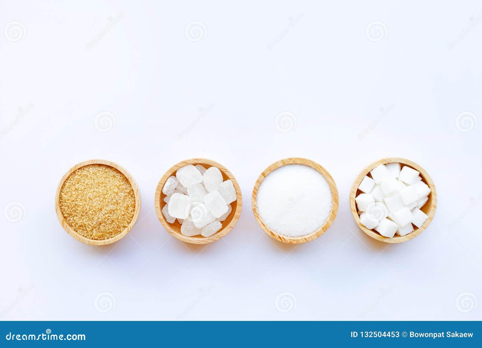Διάφοροι τύποι ζαχαρών στο λευκό
