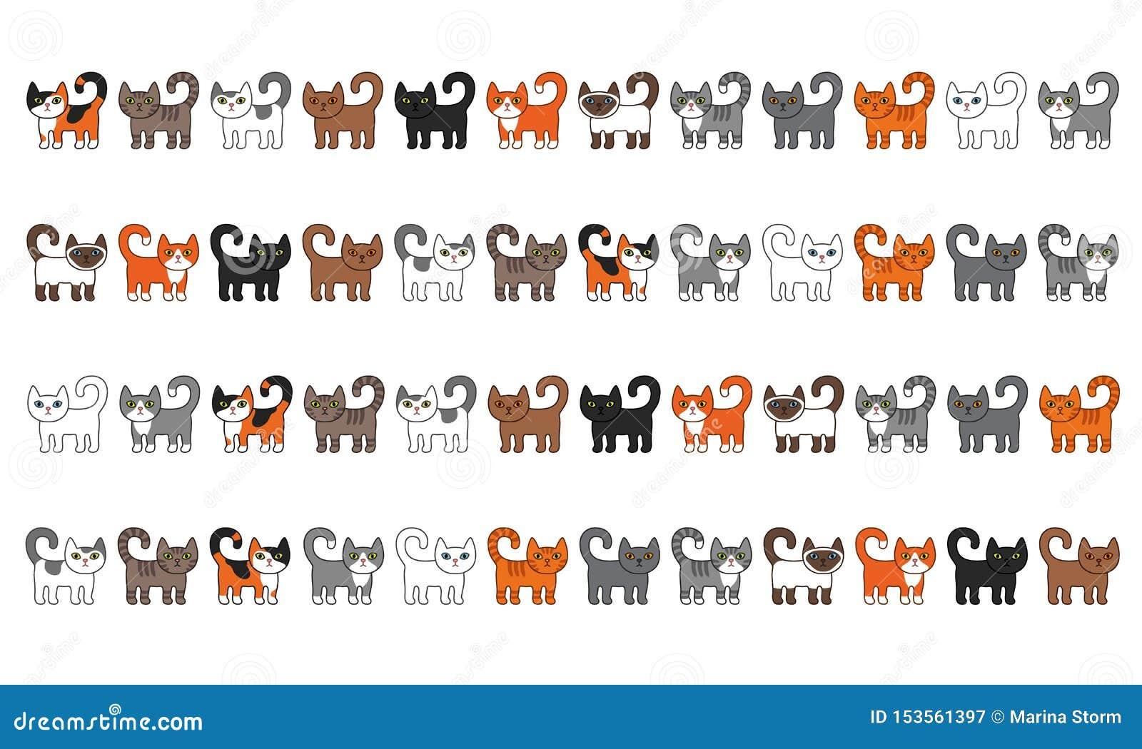 Διάφορο σύνολο συνόρων γατών Η χαριτωμένη και αστεία διανυσματική απεικόνιση γατών γατακιών κινούμενων σχεδίων έθεσε με τις διαφο