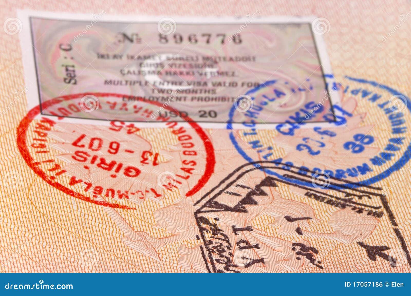 Διαβατήριο με τα γραμματόσημα και τη θεώρηση