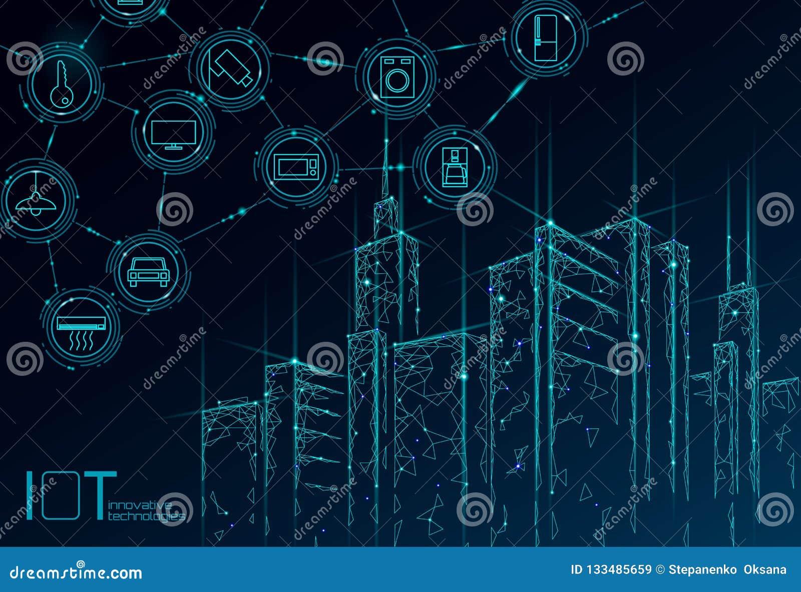 Διαδίκτυο πραγμάτων του χαμηλού πολυ έξυπνου πλέγματος καλωδίων πόλεων τρισδιάστατου Ευφυής έννοια αυτοματοποίησης IOT οικοδόμηση