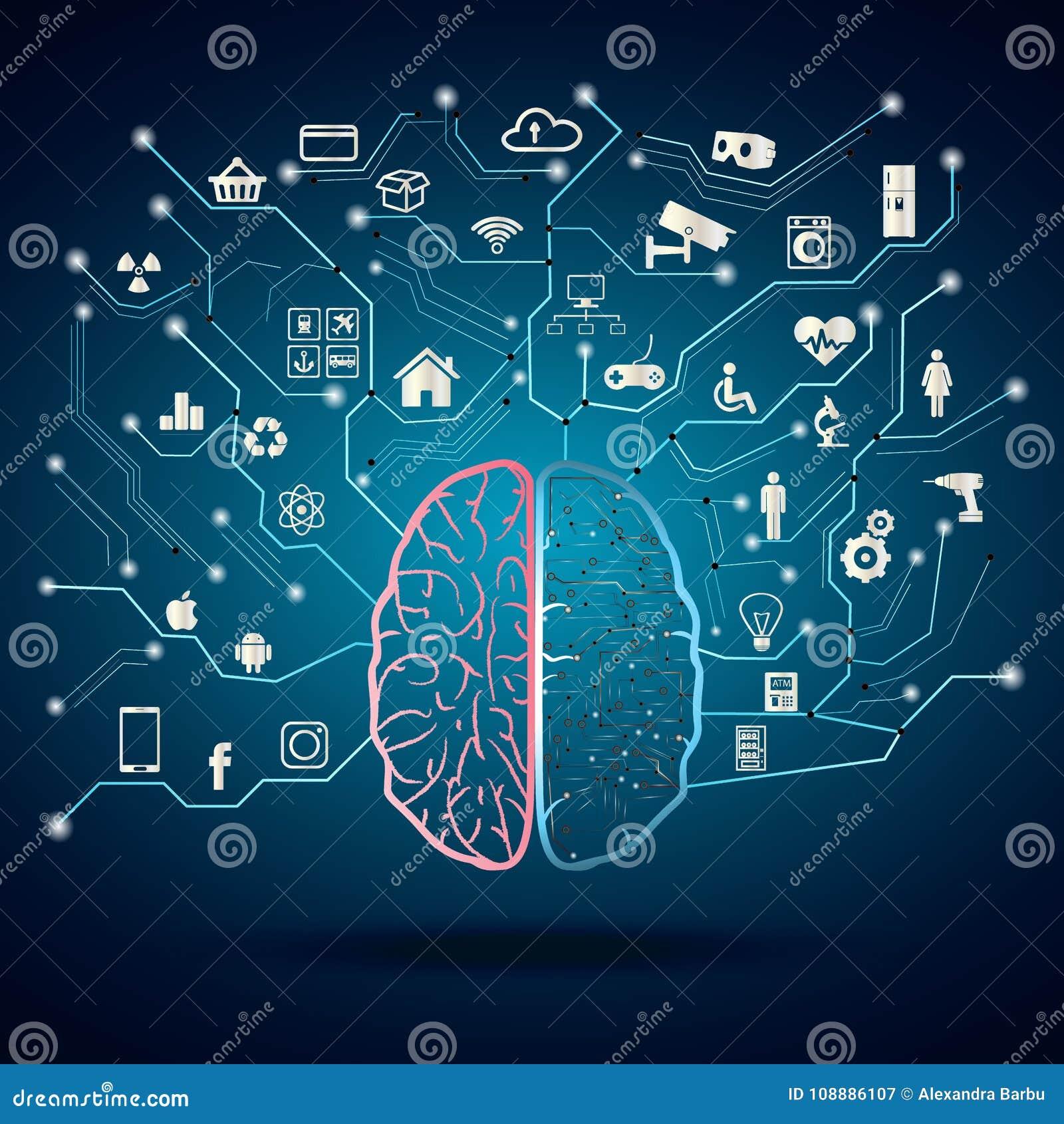 Διαδίκτυο του ψηφιακού εγκεφάλου πραγμάτων Ιστός αραχνών των συνδέσεων δικτύων