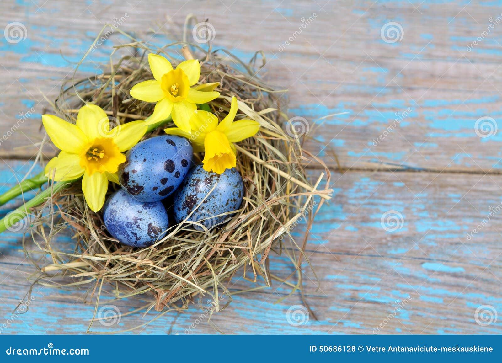 Διακοσμήσεις Πάσχας Αυγά στις φωλιές στο ξύλο