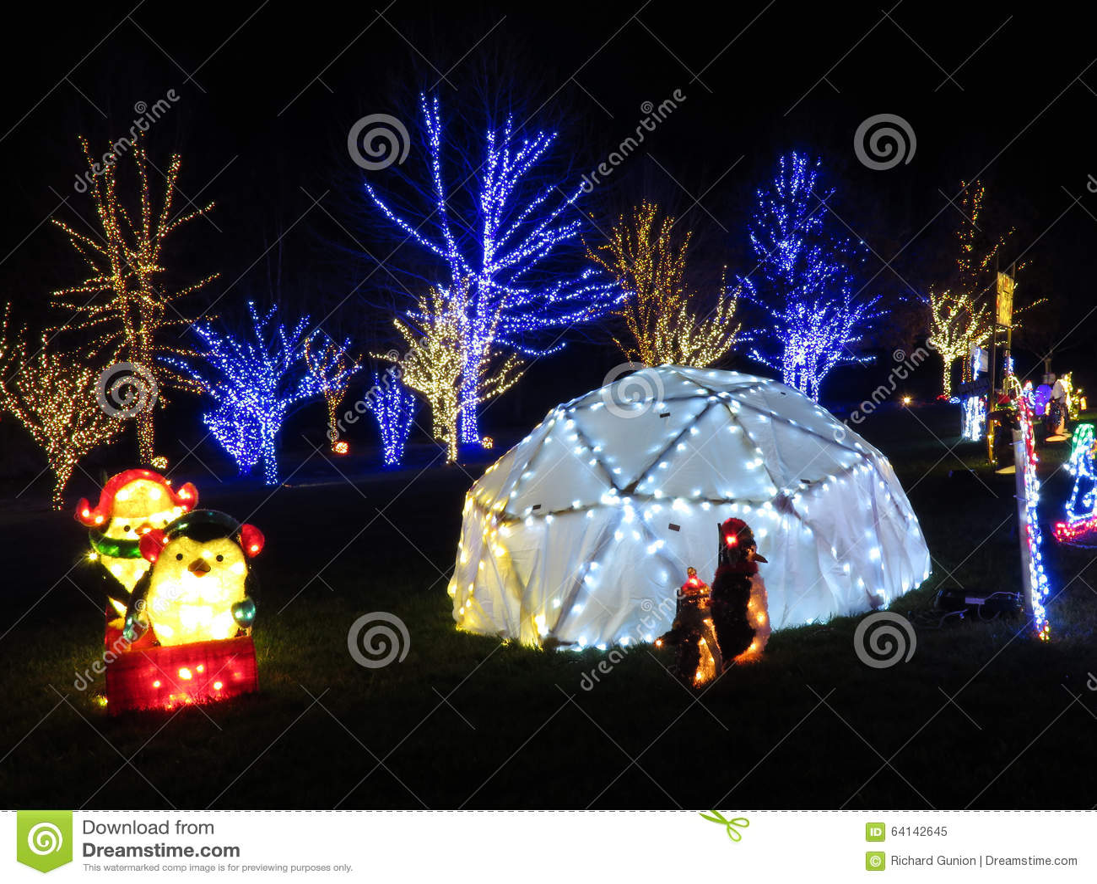 Διακοσμήσεις Χριστουγέννων βόρειου πόλου στη νύχτα