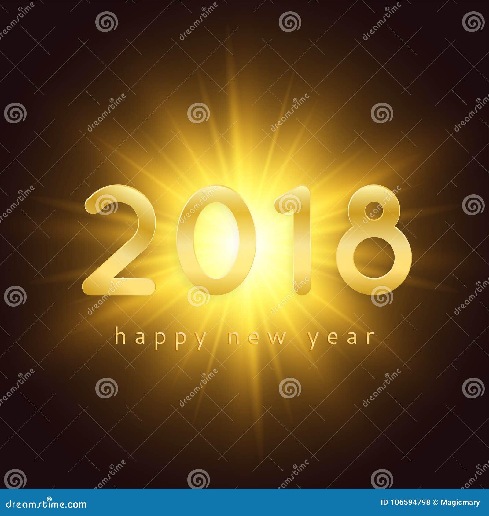2018 διακοσμημένη υπόβαθρο χρυσή έκρηξη καλής χρονιάς και χρυσά ψηφία
