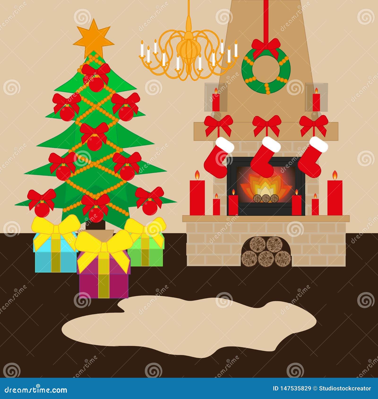 Διακοσμημένο Χριστούγεννα δωμάτιο με το χριστουγεννιάτικο δέντρο και την εστία r