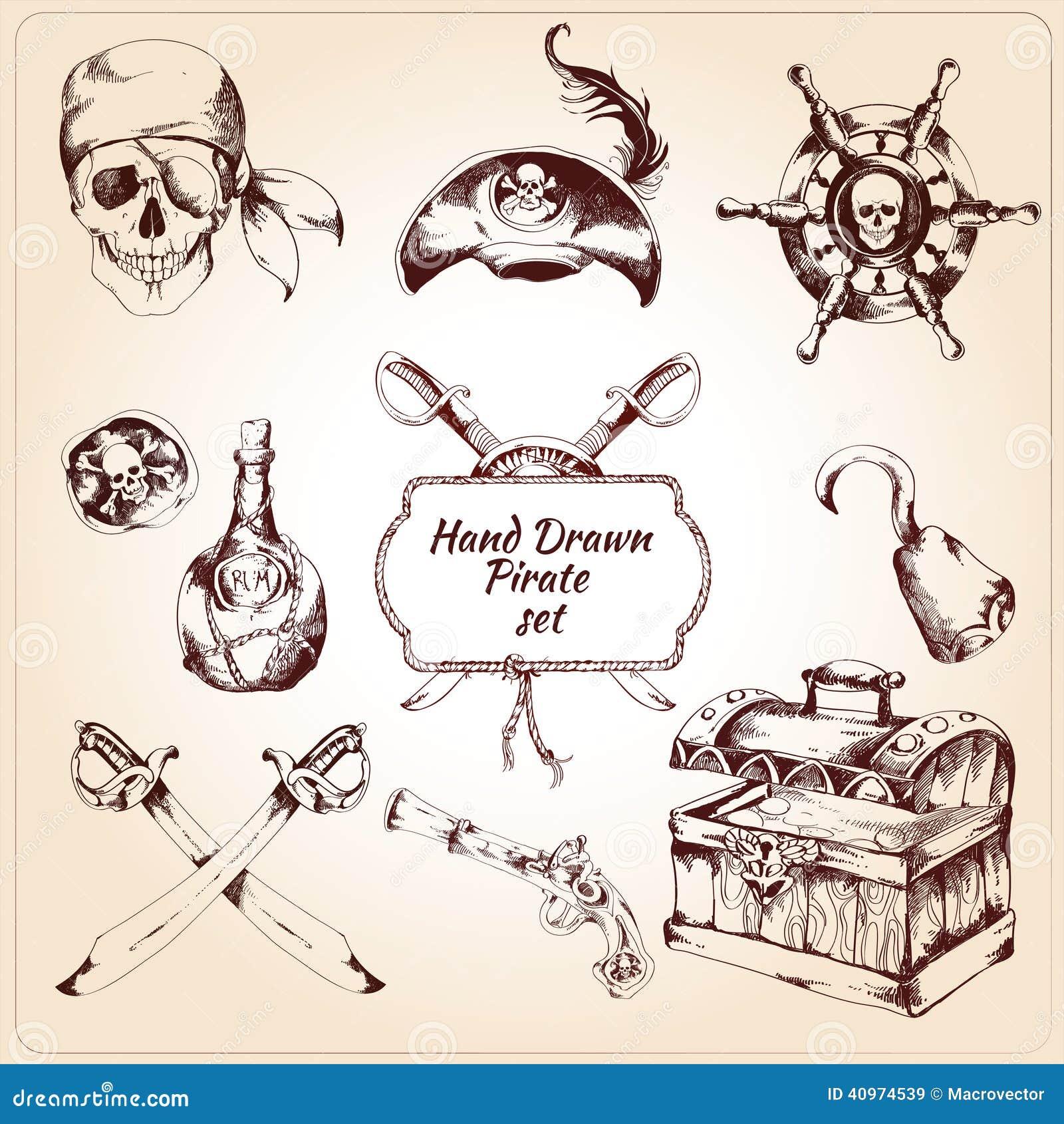 Διακοσμητικά εικονίδια πειρατών καθορισμένα