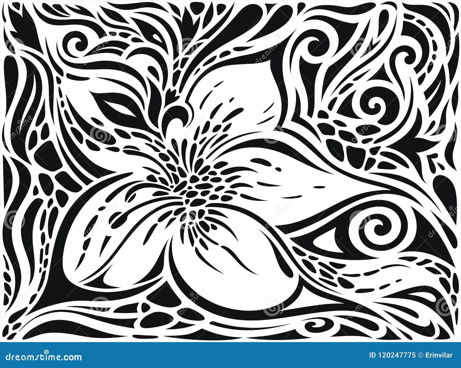 Διακοσμητικά λουλούδια στο μαύρο & άσπρο, Floral διακοσμητικό περίκομψο γραφικό σχέδιο δερματοστιξιών υποβάθρου