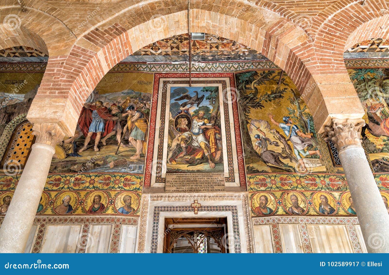 Διακόσμηση μωσαϊκών πέρα από την είσοδο στο υπερώιο παρεκκλησι της Royal Palace στο Παλέρμο