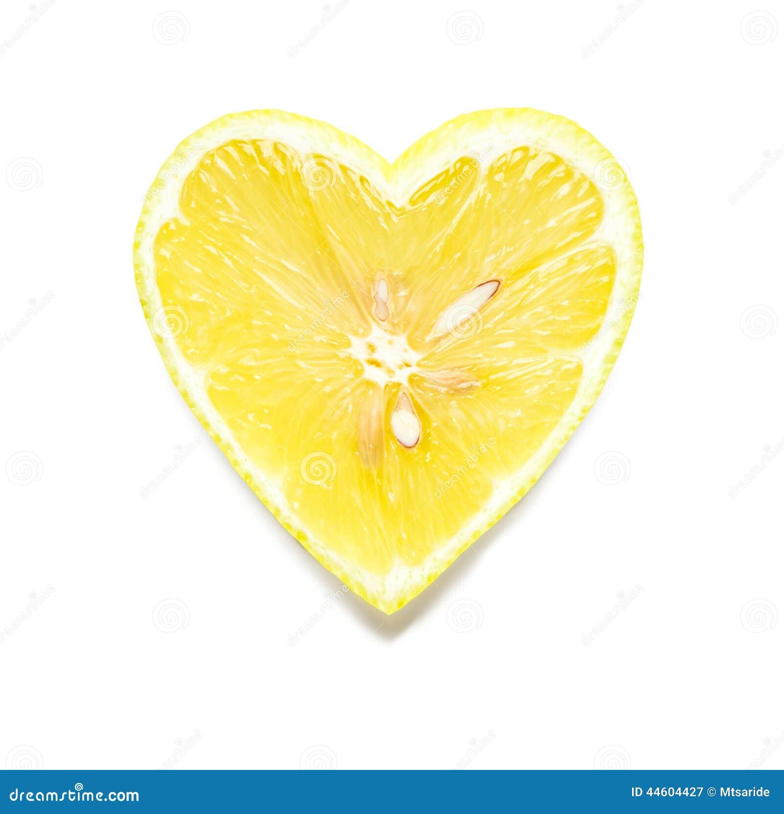 Διαμορφωμένη καρδιά φέτα λεμονιών