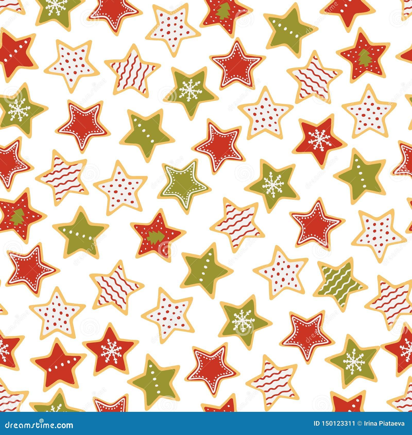 Διαμορφωμένο αστέρι άνευ ραφής σχέδιο μελοψωμάτων Χριστουγέννων Γλυκά Χριστουγέννων r