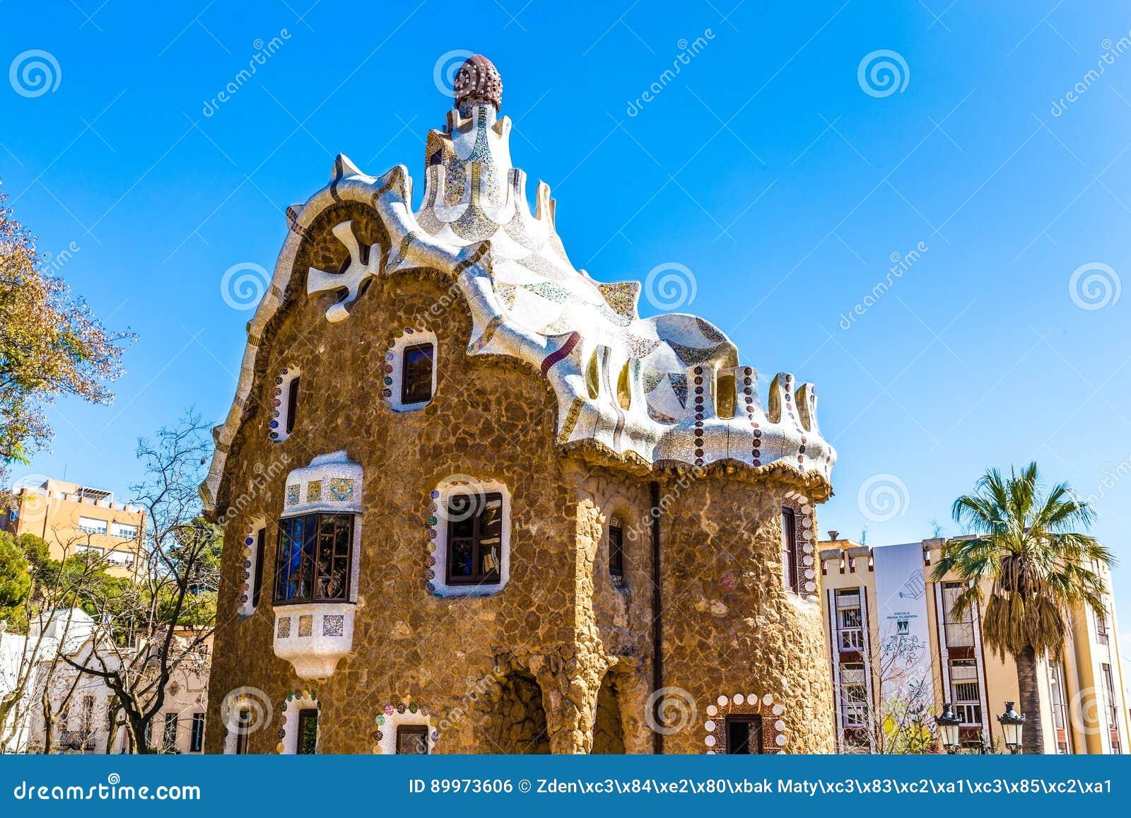 Διαμορφωμένο μανιτάρι σπίτι-πάρκο Guell, Βαρκελώνη, Ισπανία
