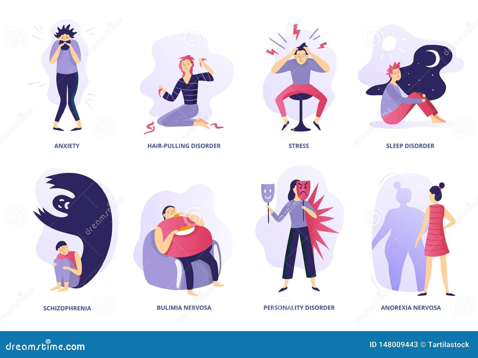 Διανοητηκές διαταραχές Ψυχική ασθένεια, ψυχοθεραπεία ανθρώπων και ψυχιατρικά προβλήματα Διανυσματική απεικόνιση αναταραχής νοοτρο