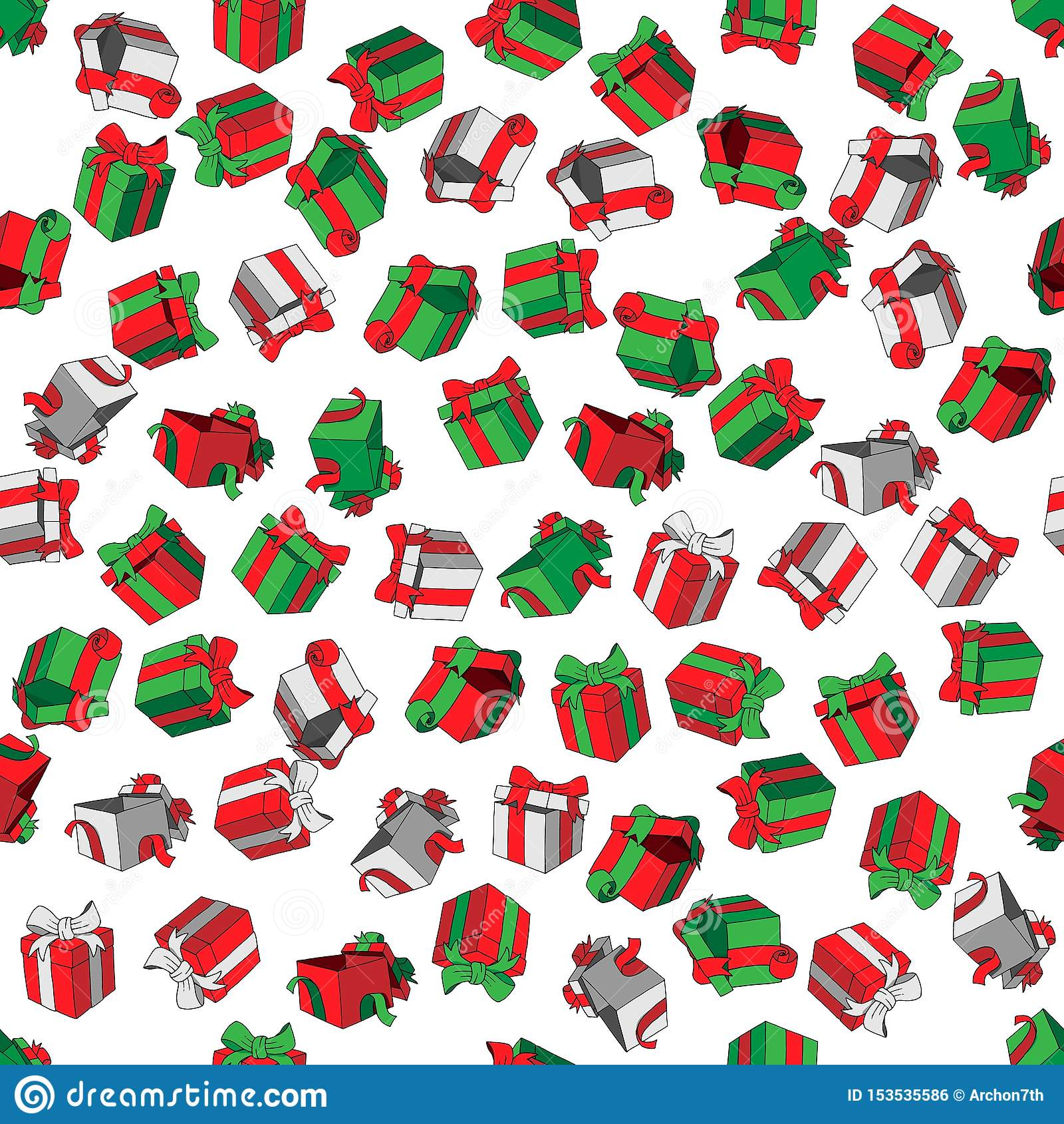 Διανυσματικά άνευ ραφής χρωματισμένα σχέδιο κιβώτια δώρων κινούμενων σχεδίων doodles στο άσπρο υπόβαθρο