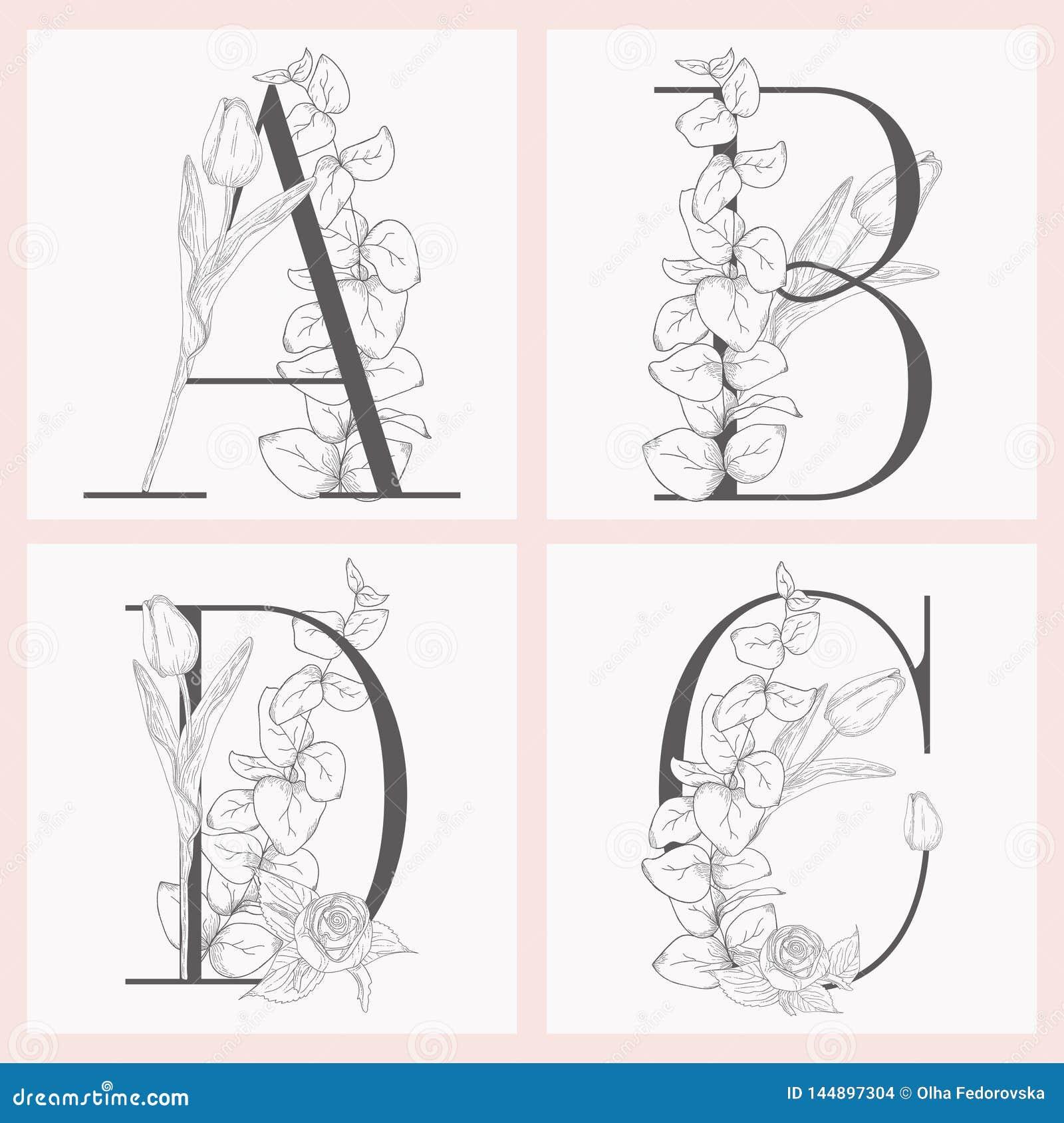Διανυσματικά ανθίζοντας Floral κομψά μονογράμματα και λογότυπα