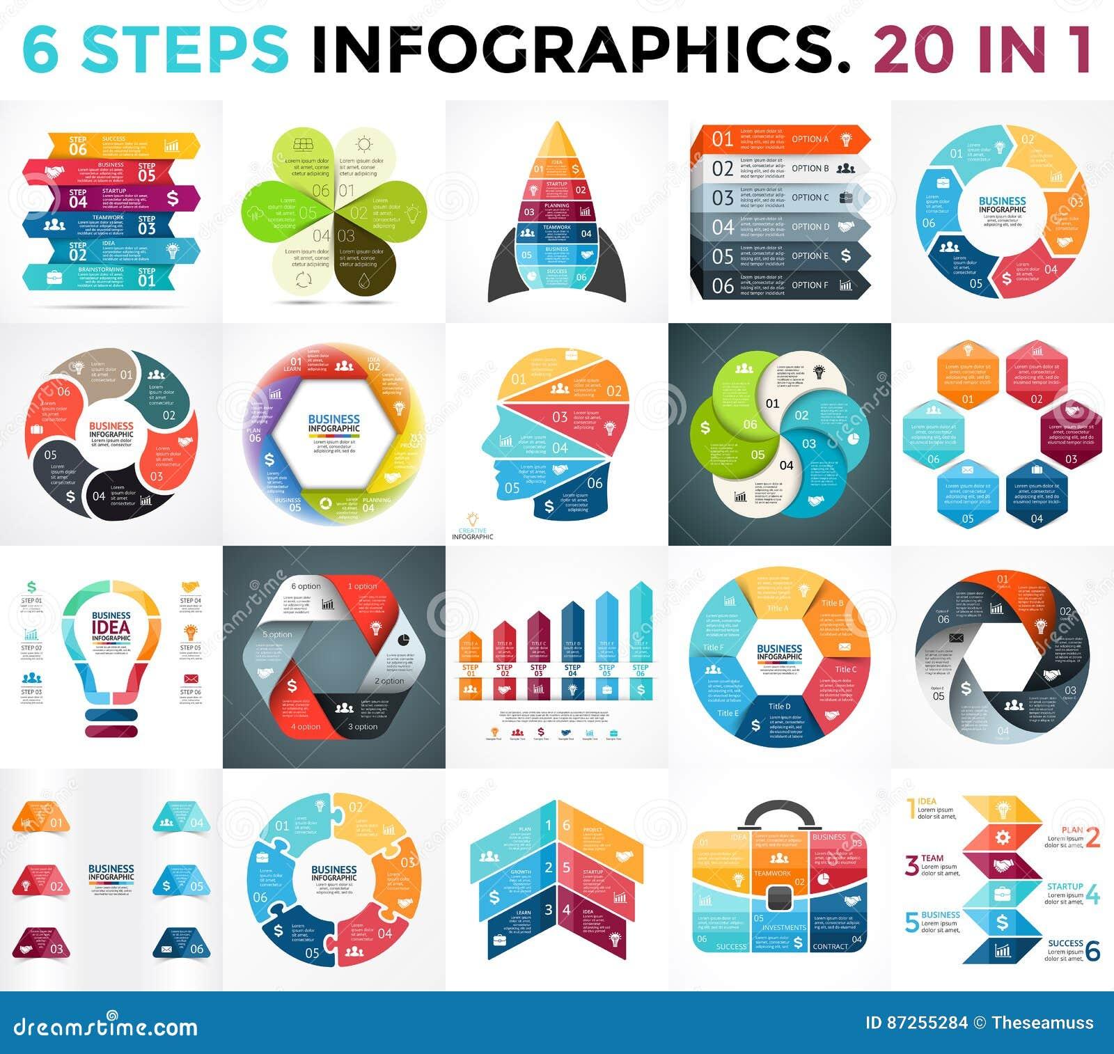 Διανυσματικά βέλη κύκλων infographic, διάγραμμα κύκλων, επιχειρησιακή γραφική παράσταση, διάγραμμα παρουσίασης 6 επιλογές, μέρη,