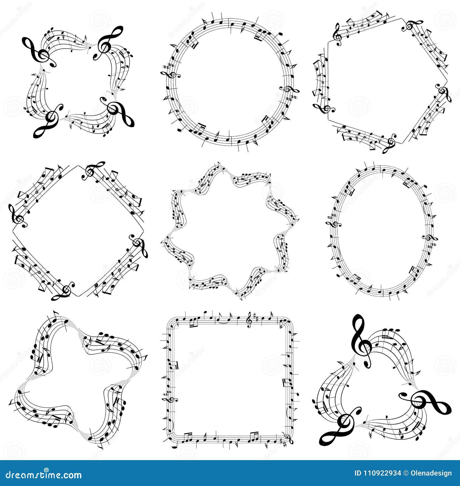 Διανυσματικά διακοσμητικά πλαίσια μουσικής με τις σημειώσεις - ωοειδής τετραγωνικός κύκλος