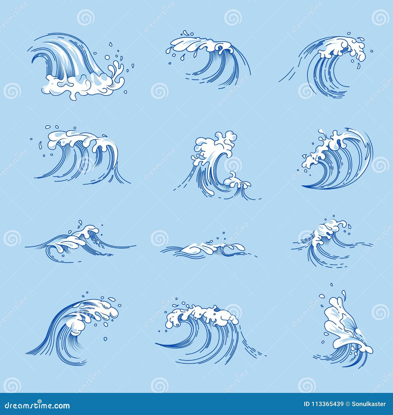 Διανυσματικά εικονίδια σκίτσων κυμάτων και παφλασμών ωκεανών ή θαλάσσιου νερού καθορισμένα
