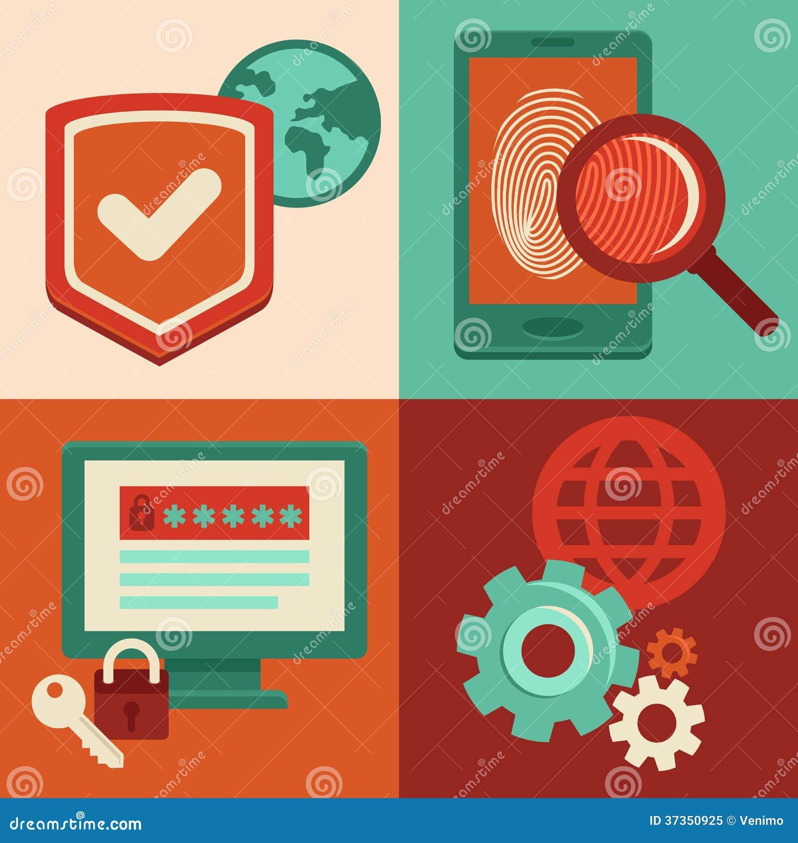 Διανυσματικά εικονίδια ασφάλειας Διαδικτύου στο επίπεδο ύφος