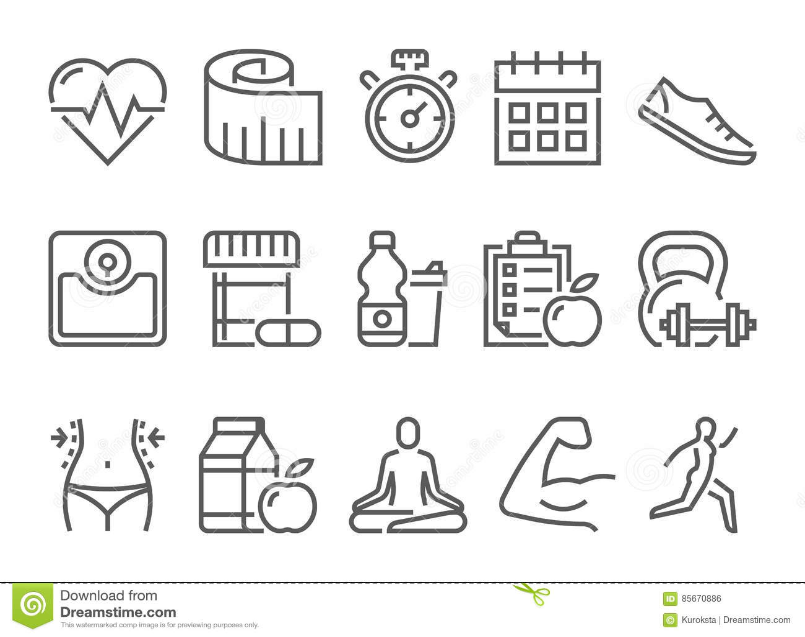Διανυσματικά εικονίδια υγείας και αθλητισμού ικανότητας καθορισμένα