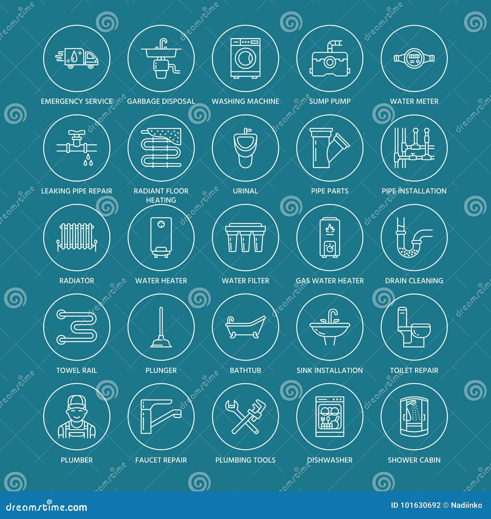 Διανυσματικά επίπεδα εικονίδια γραμμών υπηρεσιών υδραυλικών Εξοπλισμός λουτρών σπιτιών, στρόφιγγα, τουαλέτα, σωλήνωση, πλυντήριο,