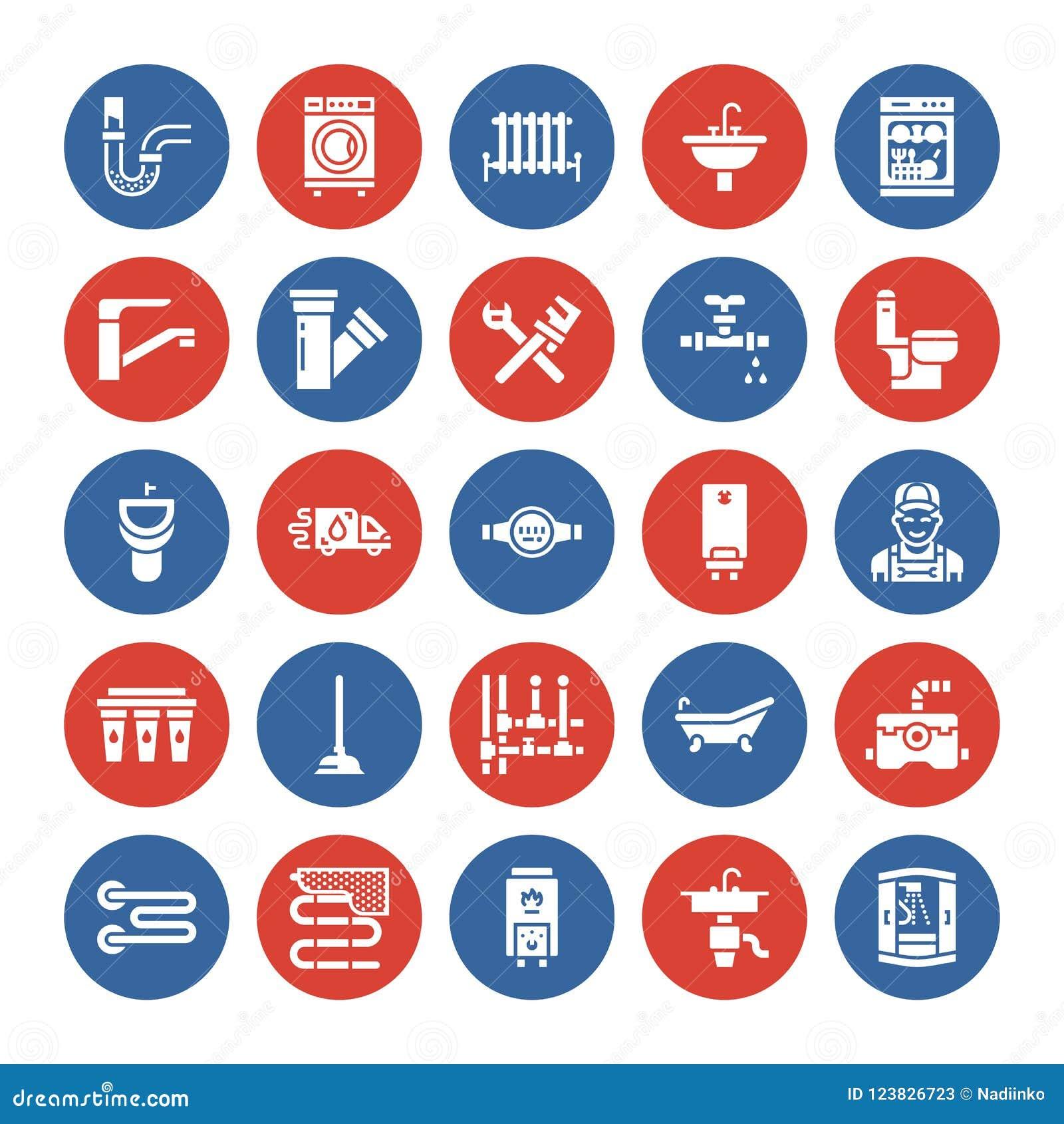Διανυσματικά επίπεδα εικονίδια glyph υπηρεσιών υδραυλικών Εξοπλισμός λουτρών σπιτιών, στρόφιγγα, τουαλέτα, σωλήνωση, πλυντήριο