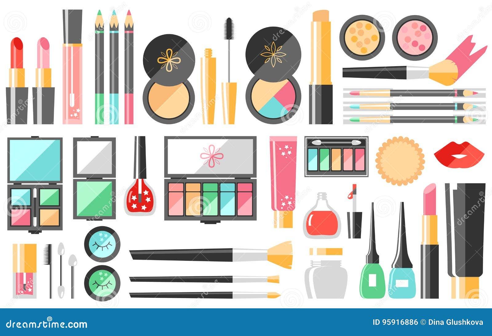 Διανυσματικά επίπεδα καλλυντικά καθορισμένα Προϊόντα μόδας ομορφιάς Διακοσμητικό γ
