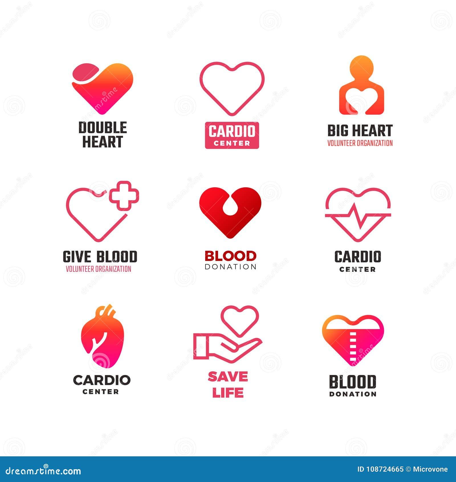 Διανυσματικά ιατρικά λογότυπα δωρεάς καρδιολογίας και αίματος Διεθνή εμβλήματα ημέρας καρδιών
