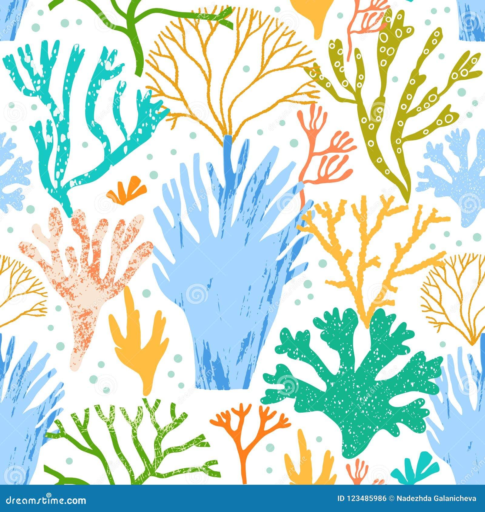 Διανυσματικά κοράλλια και φύκι, άνευ ραφής σχέδιο αλγών Χλωρίδα θάλασσας