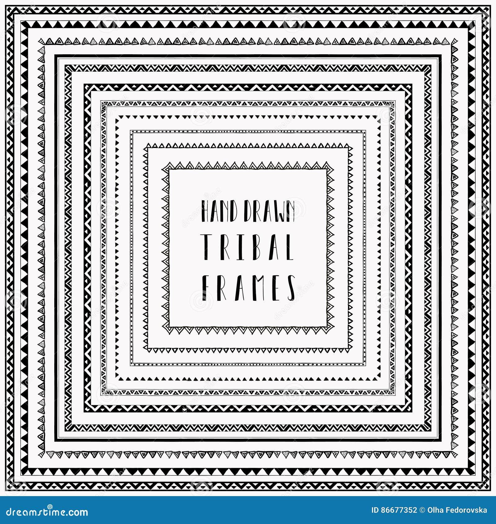 Διανυσματικά μαύρα hand-drawn αφηρημένα πλαίσια doodle