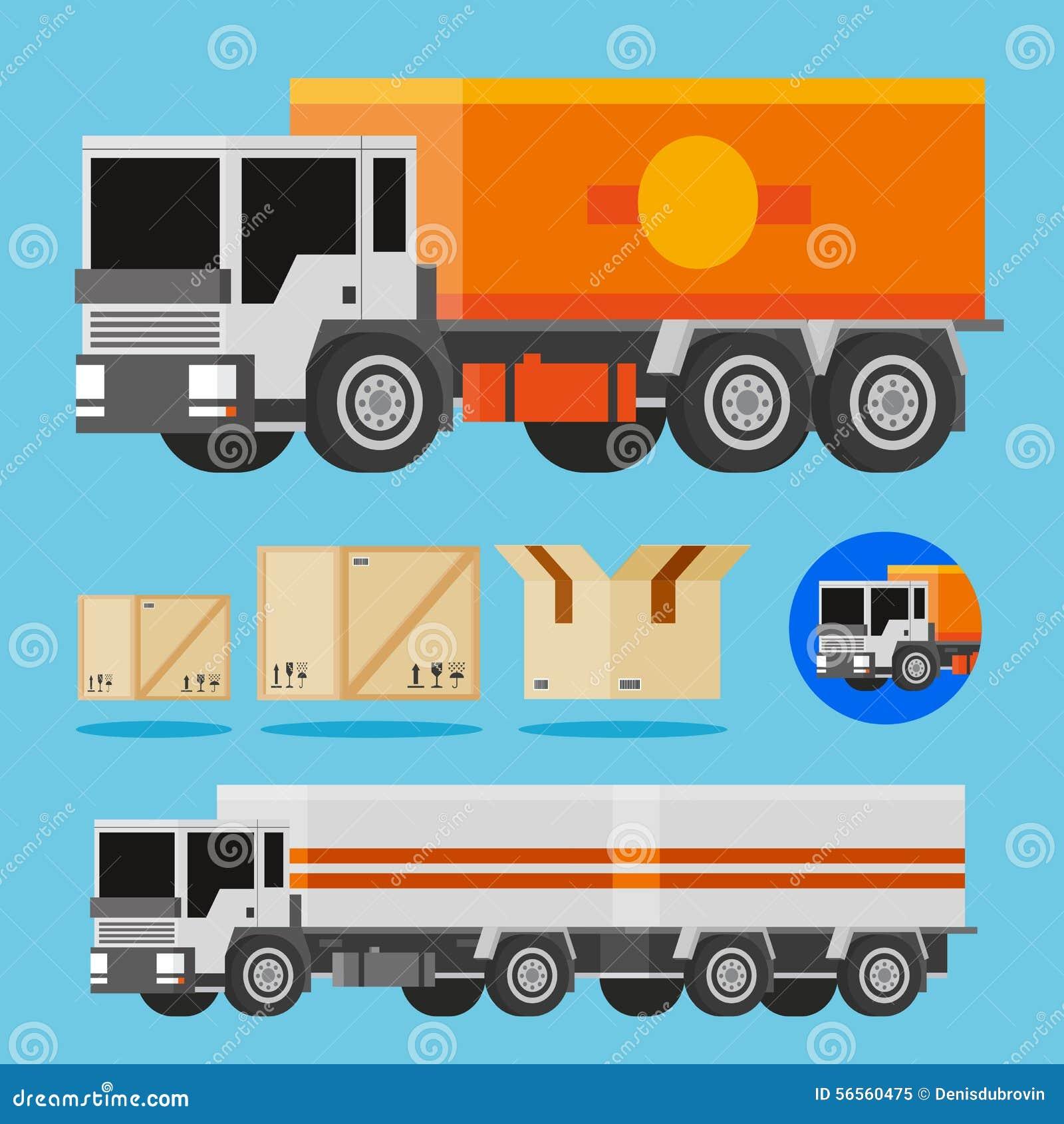 Download Διανυσματικά πορτοκαλιά και άσπρα φορτηγά παράδοσης Διανυσματική απεικόνιση - εικονογραφία από χριστούγεννα, ανασκόπησης: 56560475