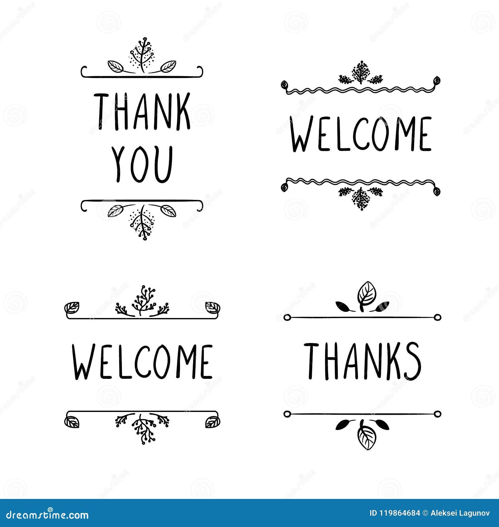 Διανυσματικά σημάδια Doodle: Η υποδοχή, ευχαριστίες και σας ευχαριστεί, μαύρα σχέδια περιλήψεων που απομονώνονται
