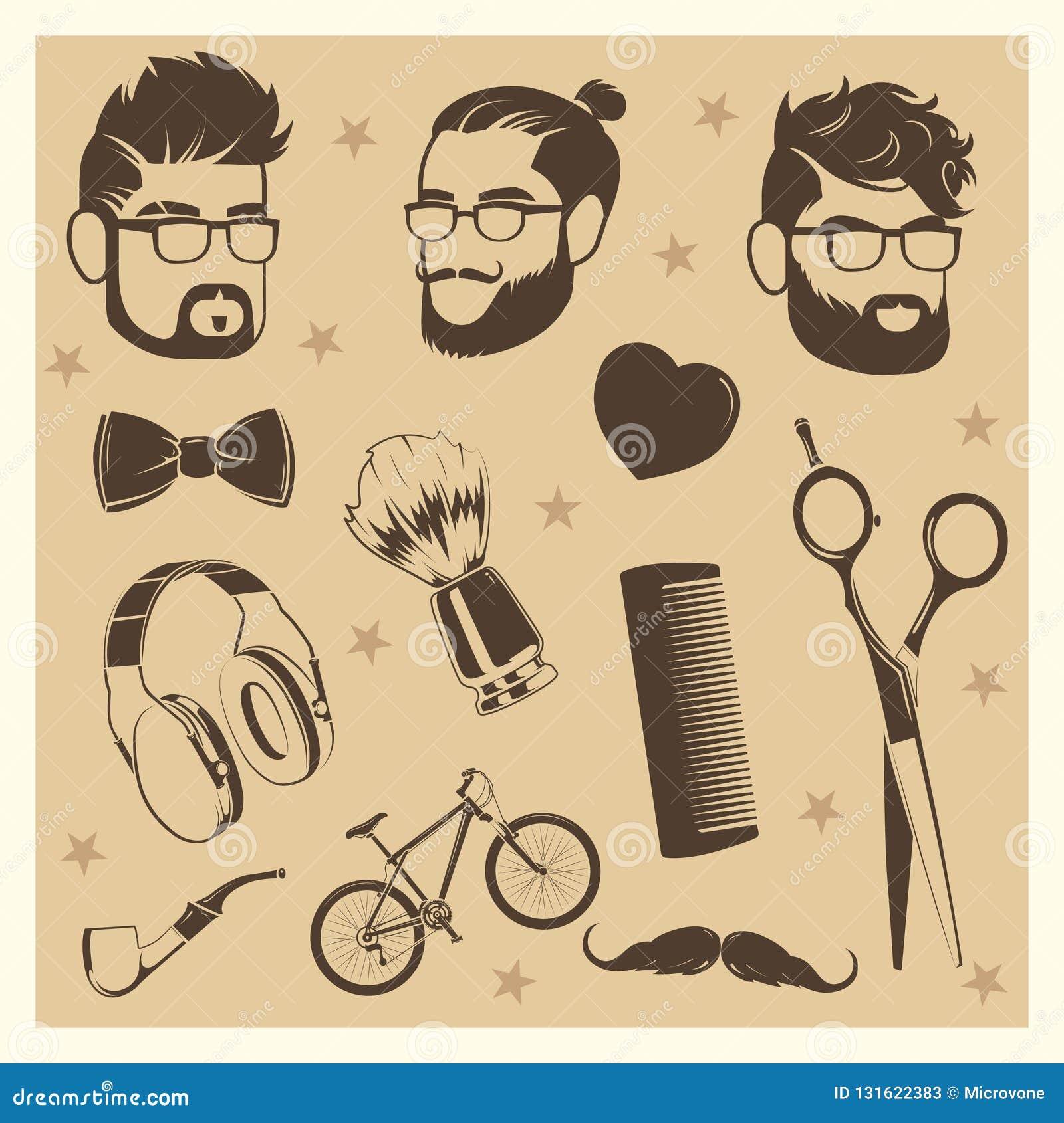 Διανυσματικά στοιχεία hipster καθορισμένα - αρσενικά κεφάλια, ψαλίδι